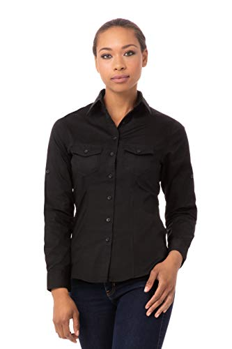 Chef Works Women's Pilot Shirt, Black, Large from Chef Works