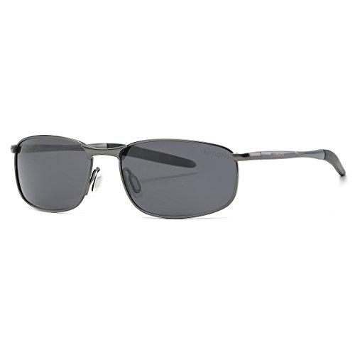 44ee5cb3e6 Kimorn Polarized Sunglasses Retor Rectangle Frame Classic Unisex Sun Glasses  K0535 (Gray Black)