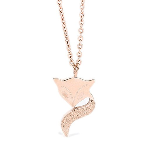 (Fashion Gold Plated Dull Polish Fox Pendant Necklace Holiday Gifts)