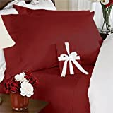 7 pc Red (Burgundy) plain - solid Twin XL Size Bed Sheet-Duvet Cover Set. 300 Thread 100% Natural Combed Cotton