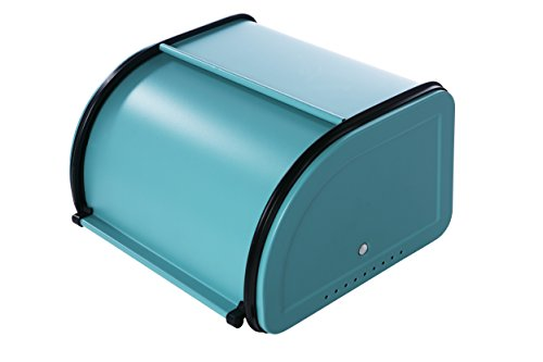 Teal Metal Bread Box with Roll Top Lid for Kitchen - Small Half Loaf Bread Bin Storage Container For Loaves, Pastries, and More - Retro / Vintage Inspired Design - 10 x 8.5 x 5.5 (Roll Top Lid)
