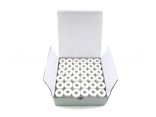 Polyester Prewound Bobbins (144 Pack - CleverDelights White Prewound Bobbins - 60wt - Size L Bobbins - SA155 Replacement - 3/8
