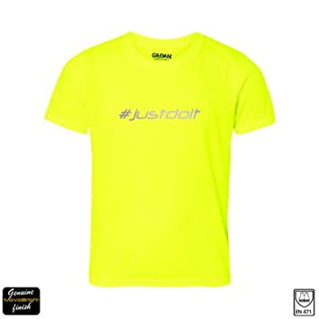 e0a351ed500 Ladies Winter Reflective Hi Vis Sports T shirt. MovoBright Hash Tag Range   justdoit (Other hashtags available ...