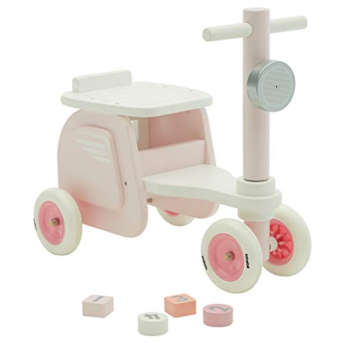 labebe Walk & Ride on Baby Balance Bikes, Push & Pull Baby Walker Toy, Foot to Floor Pink Motor Car No Pedal 4 Wheels for Toddler 1-3 Years Old Girls, First Birthday New Year Gift
