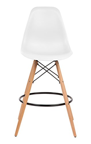 IRIS USA Mid-Century Modern Shell Barstool with Wood Eiffel Legs, 2 Pack, Cotton White - Set of 2 easily assembled barstools Plastic seats offer ergonomic shape and smooth finish; Wooden eiffel-style legs provide stability Great for use in kitchen, dining room, living room, or game room - kitchen-dining-room-furniture, kitchen-dining-room, kitchen-dining-room-chairs - 31QXFNv 40L -