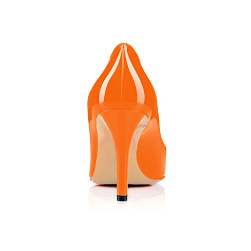 Donne Fsj Lusinghiose Scarpe Aperte Abito Formale Spuntato Lucido Tacchi Alti Pompe Taglia 4-15 Arancione