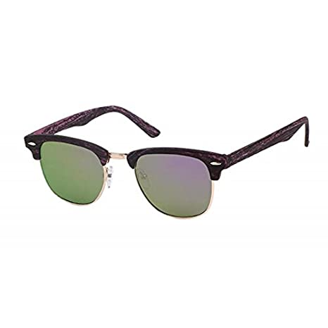Sonnenbrille CatEye Metall 400 UV trapezförmig verspiegelt Holzmuster Steg hoch Zxhd3OYyM