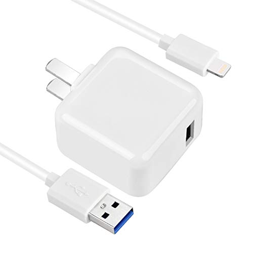 OOKKOO Charger,2.4A 12W USB Wall Portable Travel Plug and 5FT Cable for iPad 4/Mini/Air/Pro, iPod,iPhone - Mini 3 Apple Ipad Charger
