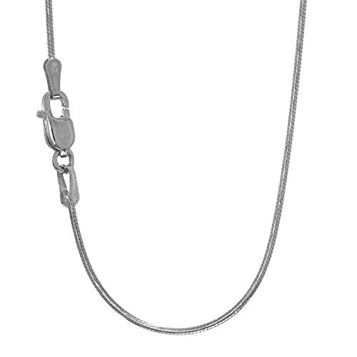 14k White Gold 0.9 mm Round Snake Chain Necklace, Lobster Claw Clasp - 20 Inches, 4.3gr. -  JewelStop