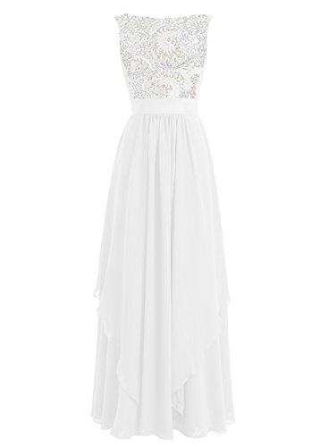 Bbonlinedress 2017 Long Chiffon Lace Sleeveless A Line Evening Prom Bridesmaid Dresses Ivory 6 by Bbonlinedress