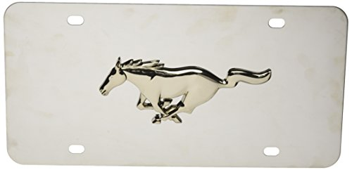 (Ford Mustang 3d Chrome Pony on Stainless Steel License Plate)