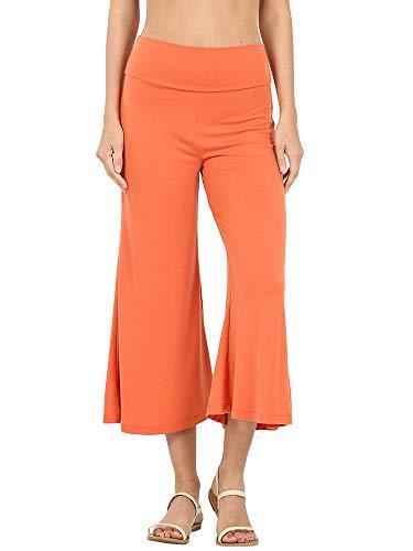 The Lovely Women's Knit Capri Culottes Gaucho Wide Leg Pants(ASH Copper, L)