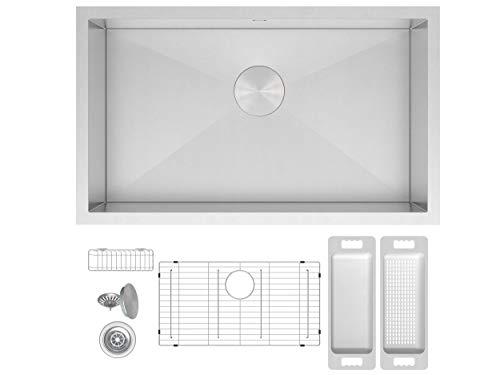 (Zuhne Urbino 30 Inch Undermount Single Bowl 16 Gauge Zero Radius Stainless Steel Kitchen Sink for 33 Inch Cabinet)