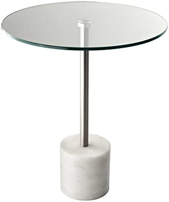 Adesso Blythe End Table, Steel White Marble