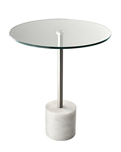 Adesso HX5282-02 Blythe End Table, Steel/White Marble - Adesso Glass End Table