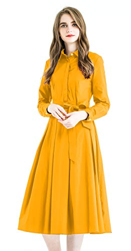 (Zredurn Women's Elegant Pleated Shirt Dress with Long Sleeve Pleated Belted A-Line Dress Style (Yellow, XL))