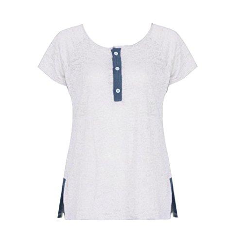 LuckyGirls boutnné Elastic Femme pour 4XL Shirt Été sans V Tee Gilet Chemisier Débardeurs Col Maxi Sexy Manches T Blanc à Shirt Irrégulier arZaqw5