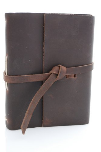Rustico Genuine Leather Journey Photo Album - Stores 100 4x6 Photos, Dark (Bonded Leather Travel Wallet)