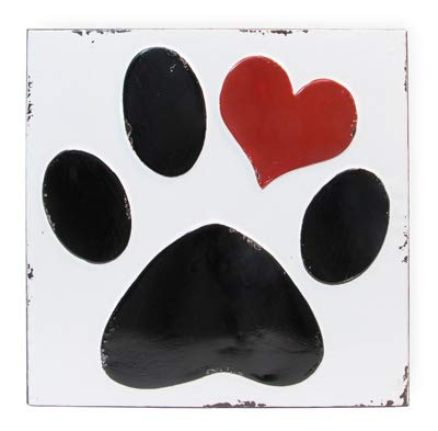 Olive Occasions Dog Paw Heart White Metal Sign 11 Inches x 11 Inches Square