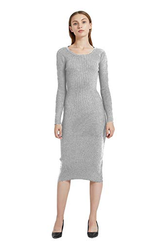 party dresses Women's Midi Dress round neck Cashmere dress Long Sleeve Slim Fit Stretchable Elasticity (One Size, 1143 light Grey)