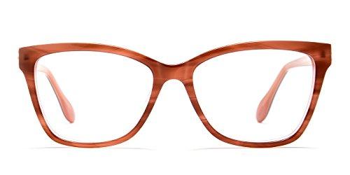 TIJN Acetate Optical Women Wayfarer Striped Full-rim Classic Eyeglasses - Rim Full