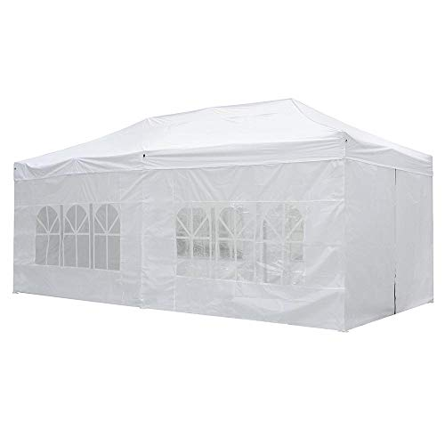 Yescom 10x20 FT Easy Pop Up Canopy Folding Wedding Party Tent with Removable Sidewalls & Carry Bag Outdoor White (Tent X 20 15)