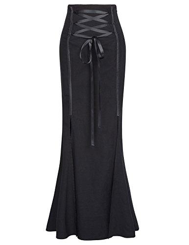 Belle Poque Gothic Fishtail Black Corset Skirt Victorian Mermaid Skirt BP447-1 M Black ()