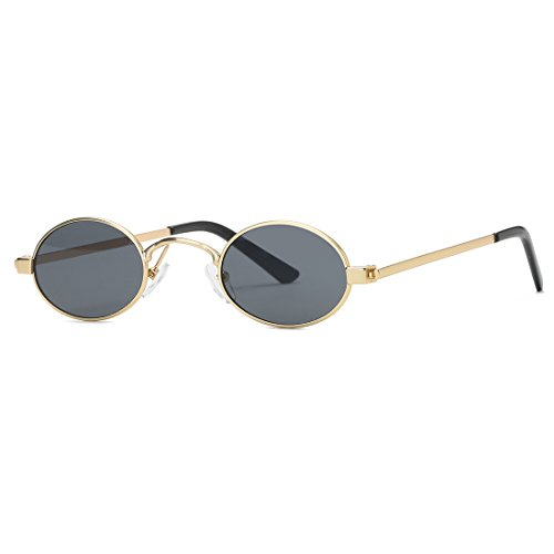 Kimorn Sunglasses Small Round Metal Frame Oval Candy Colors Unisex Sun Glasses K0577 (Gold&Black) ()