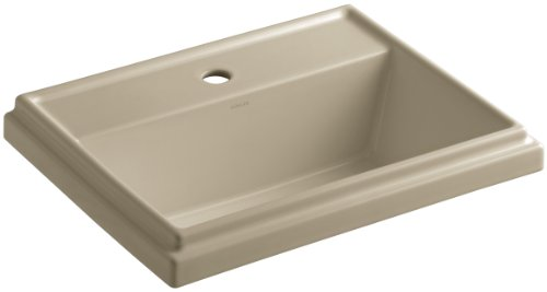 KOHLER K-2991-1-33 Tresham Rectangular Self-Rimming Bathroom Sink with Single-Hole Faucet Drilling, Mexican Sand