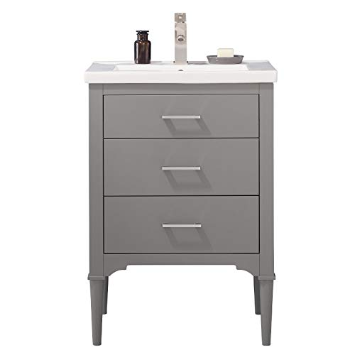 """LC24DGP Austin 24"""" Bathroom Vanity Set in French Gray, Made with Hardwood and Integrated Porcelain Top"""