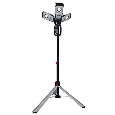 Porter Cable 68W 3 Pivoting Head 5700L LED Worklight with Heavy Duty Die-Cast Aluminum Housing, Folding Extandable Tripod Stand with Pneumatic Shock, Lightweight and Heavy Duty