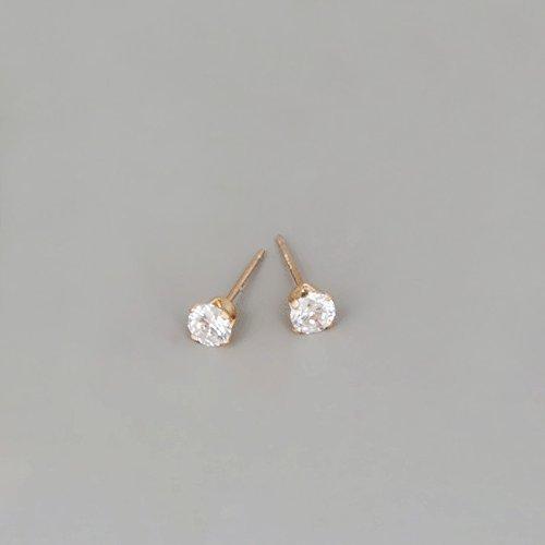 Gold Filled Zircon Diamond Stud Earrings - Small CZ Post Earrings For Women - Size 4mm