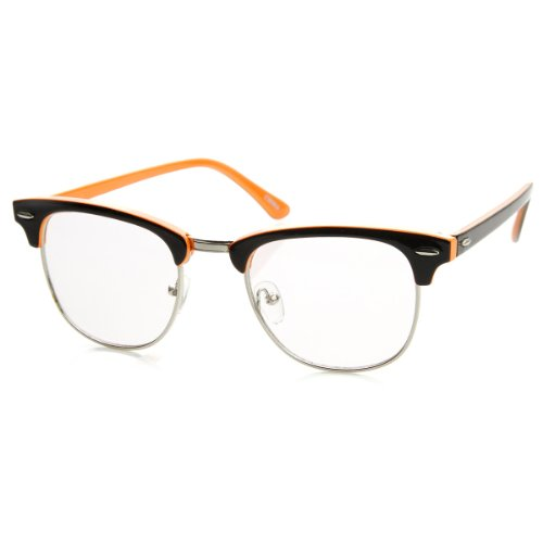 zeroUV - Two-Tone Colorful Half Frame Clear Lens Horn Rimmed Eyeglasses - 2 Frames Eyeglass Tone