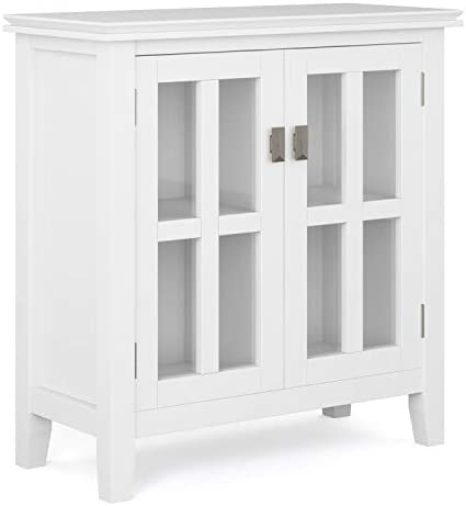 Simpli Home Artisan SOLID WOOD 30 inch Wide Contemporary Low Storage Cabinet in White, with 2 Tempered Glass Doors, 2 Adjustable Shelves