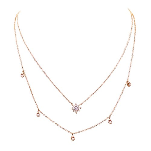 Crystal Double Strand Necklace - Rosemarie Collections Women's Dainty Double Strand Crystal Star Necklace