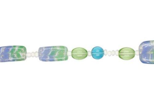 Cousin Jewelry Basics Glass Bead Mix, Blue and Green Swirl, ()