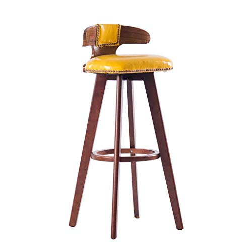 SZPZC Barstools Chair, Footrest PU Swivel Seat, High Stools Dining Chairs for Breakfast Kitchen | Pub | Café Bar Stool Max. Load 440lb in Yellow Bar Chairs 27' Square Bar Table