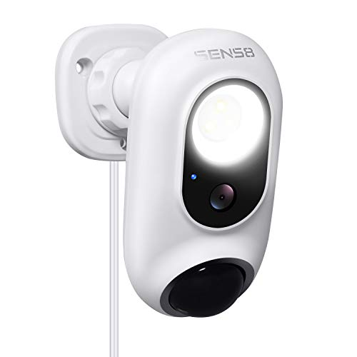 SENS8 Outdoor Camera with Light, 1080p HD Wireless/Wi-Fi Home Security Outdoor cam, Motion Detection, Compatible with Alexa Using IFTTT, Night Vision, Two-Way Audio and Siren Alarm