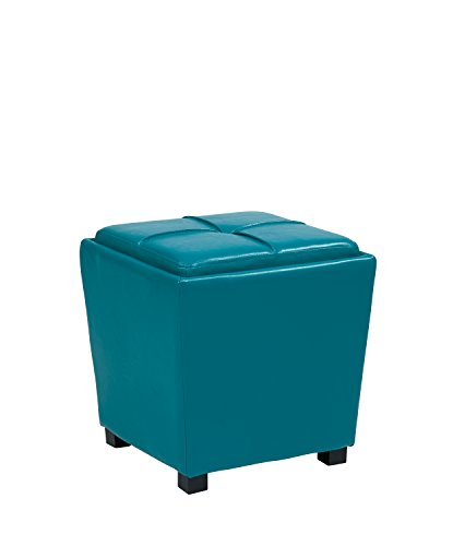 Metro Side Chair 2 Chairs - Office Star Metro Vinyl 2-Piece Storage Ottoman Nesting Cube Set with Dark Espresso Finished Feet, Blue