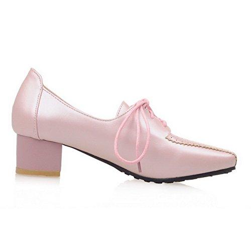AgooLar Damen Quadratisch Zehe Niedriger Absatz Weiches Material Rein Schnüren Pumps Schuhe Pink