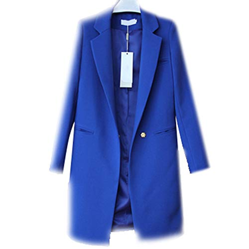 (Molif Women Blazers Jackets Spring Autumn Casual Long Women Suits Wide Waisted Solid Female Jacket Royal Blue S)