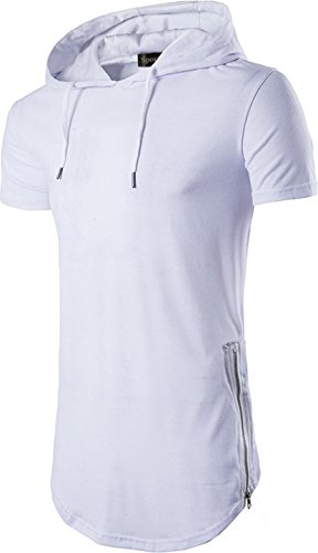 Sportides Mens Casual Longline T-Shirt Short Sleeve Hoodies Zipper Hip Hop Tee Tops JZA028 White M