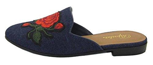 Slipper Embroidered Floral Flats Paprika On Loafer Women's Mule Blue Slip Dark 5T7q0Cw