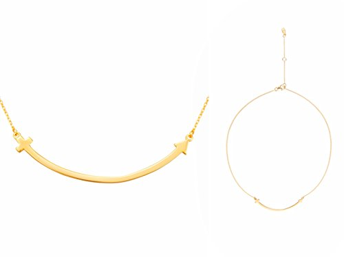 It's a circle 14K Gold Plated 925 Sterling Silver T Smile Curved Arrow Pendant Necklace - Curved Tube Earrings