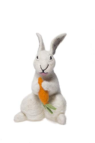 De Kulture Hand Made Showpiece Felt Easter Bunny with Carrot Figure Decorative 6x6x10 (LWH) for Easter Decoration Home Decoration