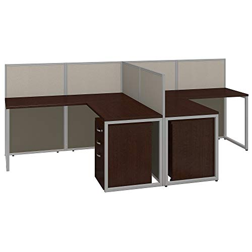 Bush Business Furniture Easy Office 60W Two Person L Shaped Desk Open Office with Mobile File Cabinets in Mocha Cherry Bush Furniture Office File Cabinet
