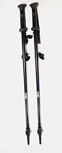 WSD Ski Poles Telescopic Adjustable Adult Downhill/Alpine Collapsible Pair with Baskets WSD, Black New, 115 cm - 135 cm (45