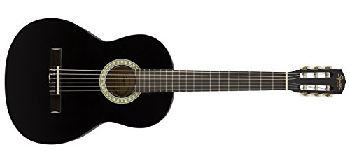 (Squier SA-150N Squier Beginner Nylon String Classical Acoustic Guitar - Gloss Black Finish)