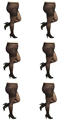 Stretch Sheer Pantyhose - Silky Toes Plus Size Queen Soft Sheer Pantyhose- 2 Pairs (Queen Pettite, Black - 6 Pair)