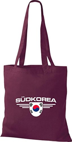 Emblema Land De Bolsa Burdeos Corea Tela Shirtstown Países Del Sur Pqv0YnUw
